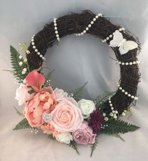 FRONT DOOR WALL DECOR VINTAGE TWIG WREATH FLOWERS ARTIFICIAL BROOCHES PEARLS